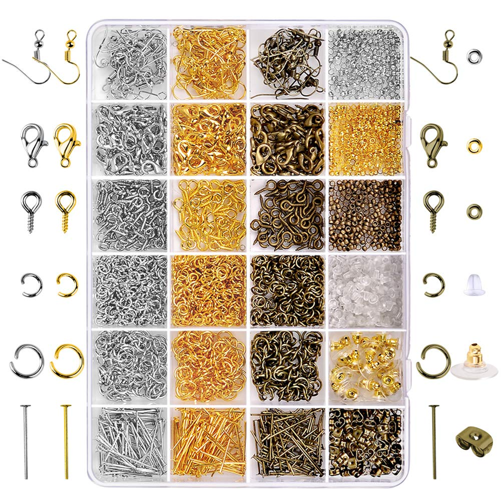 Paxcoo 2880 Pcs Jewelry Making Findings Supplies Kit with Open Jump Rings, Lobster Clasps, Crimp Beads, Screw Eye Pins, Head Pins, Earing Hooks and Earing Backs by PAXCOO