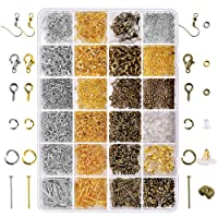 Paxcoo 2880 Pcs Jewelry Making Findings Supplies Kit with Open Jump Rings, Lobster Clasps, Crimp Beads, Screw Eye Pins, Head Pins, Earing Hooks and Earing Backs