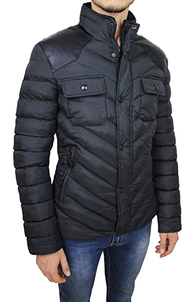 AK collezioni Giubbotto Piumino Uomo Invernale Nero Slim Fit Aderente  Casual  Amazon.it  Abbigliamento c6254742c7c