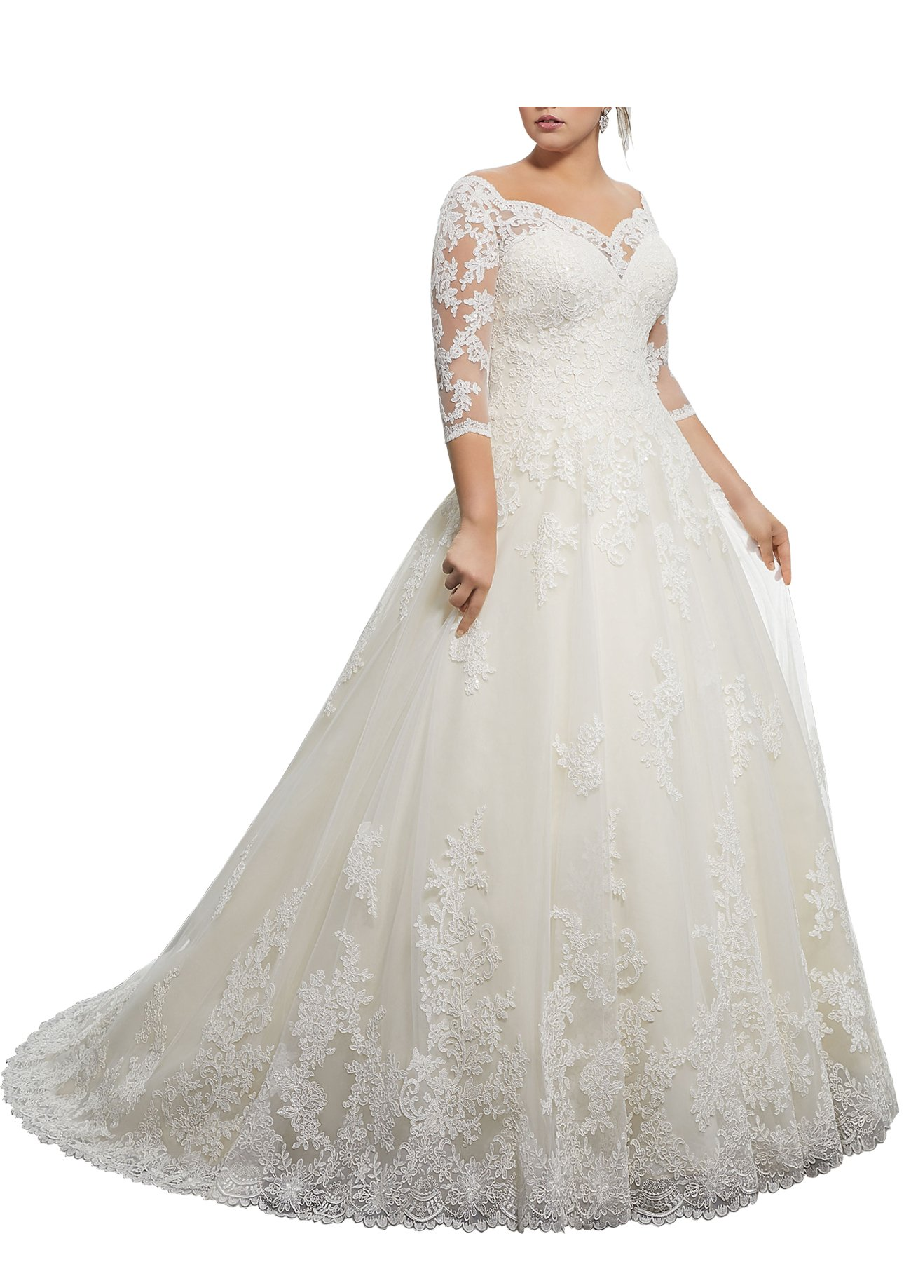 Beauty Bridal V Neck A-Line Wedding Dress For Bride Long Sleeves Lace Bridal Gowns (26W,T-Sleeves White)