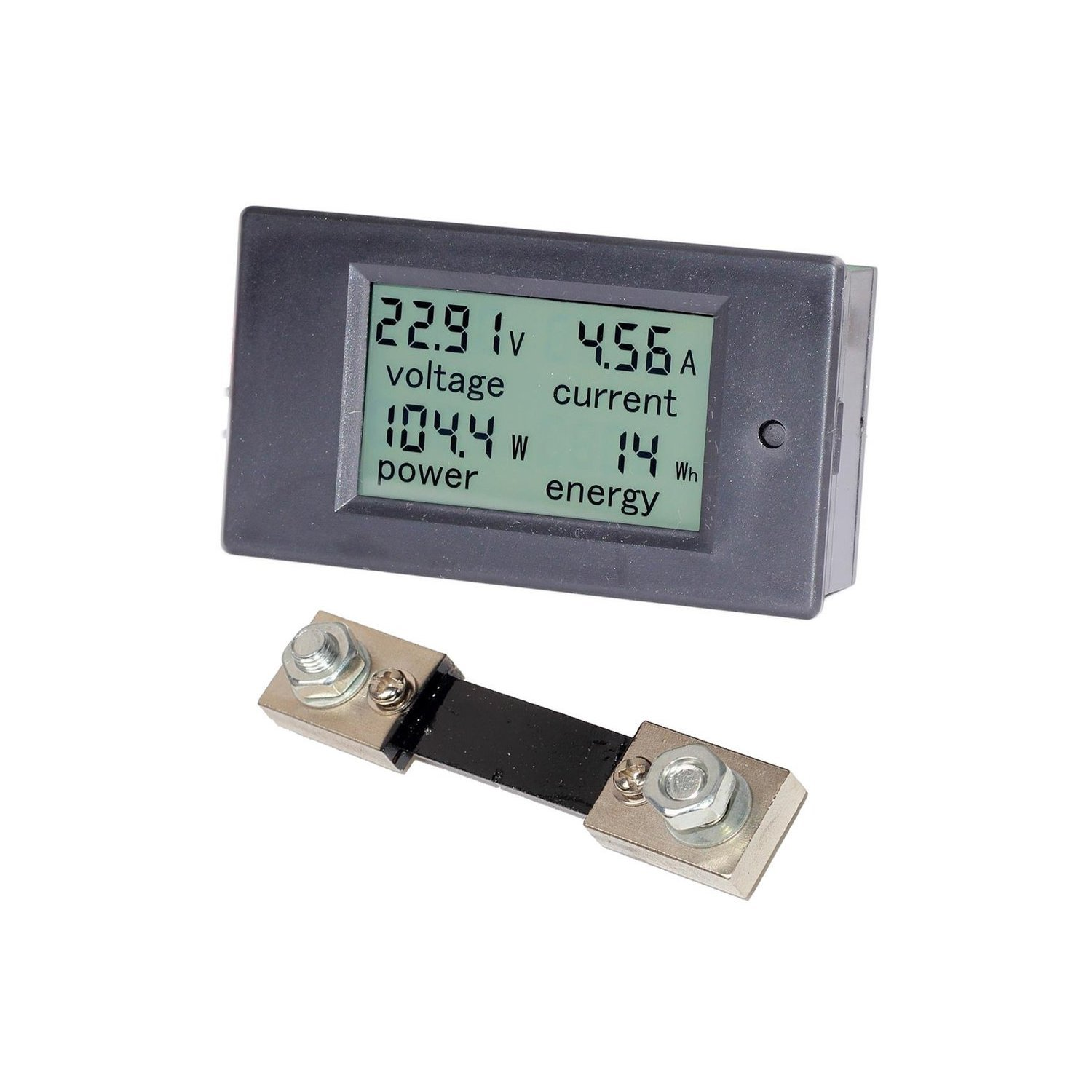 Spartan Power DC Meter Battery Monitor and Multimeter 0-100A 6.5V-100VDC LCD Digital Display Comes with 100A Current Shunt