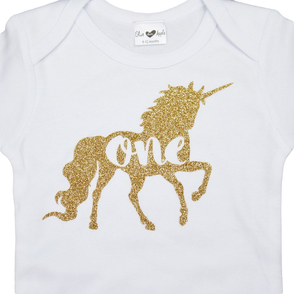 Olive Loves Apple Gold Unicorn Girls 1st Birthday White Bodysuit,18-24 months short sleeve