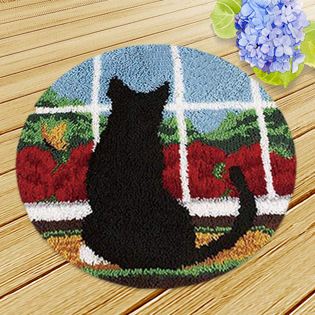 D DOLITY Black Cat Latch Hook Kits for Kids Children Carpet Latch Hooking Rug Kits Cushion Embroidery 50 x 50cm Round