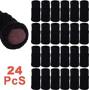 24 Pcs Chair Leg Floor Protectors, Knitting Wool Chair Furniture Leg Socks/Elastic Thick Bottom Furniture Booties/Anti-Slip Furniture Pads Covers Set (Coffee)