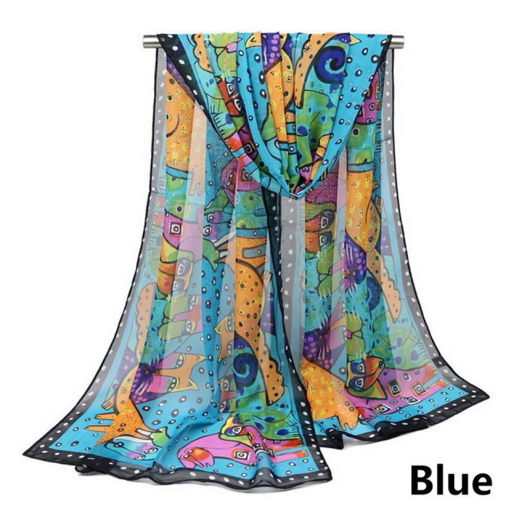 SAFZES Elegante Estolas Las Bufandas De Las Señoras Diseño Resumen Las Bufandas del Estampado De Animales del Perro del Gato Las Mujeres Envuelven Los ...