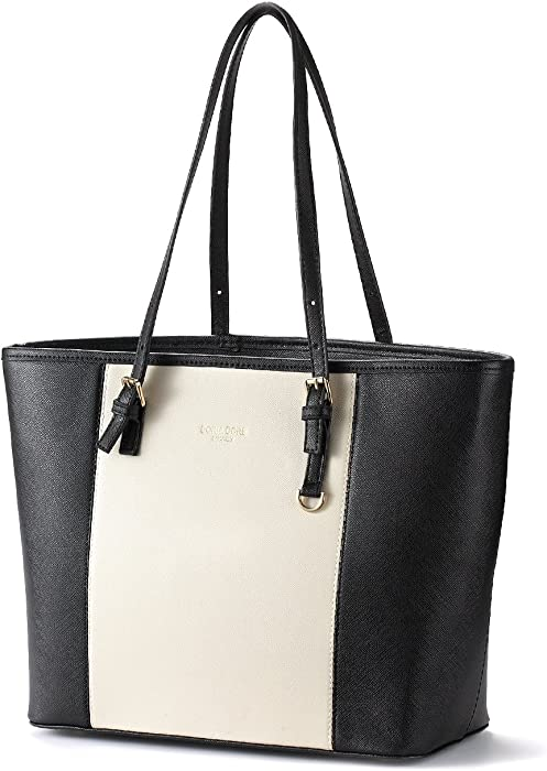 Amazon.com: Womens Large Capacity Work Tote Handbag DORIA DORE PU Leather Zipper Closure Shoulder Bag: Clothing