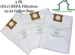 CASA VACUUMS Replacement for Shop-Vac 15-22 Gallon HEPA Filtration, Compare to Part #'s 9067300 Hi-Efficiency Type J 90663 Type G 9066300 - TEAR RESISTANT - 9021433 CRAFTSMAN 38749 Collection Bag, 3PK