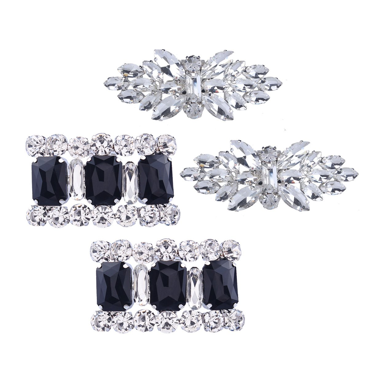 Santfe 2 Pair Rhinestone Crystal Shoe Decoration Fashion Wedding Prom Evening Party Shoe Clips Buckle (Style 12)