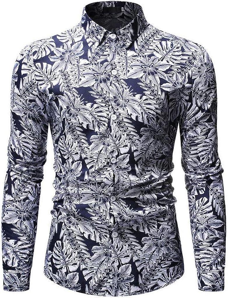 Aiserkly - Camisa de Manga Larga para Hombre, Apta para Todas Las Estaciones, Moda Hawaiana, Ocio, impresión de Negocios, Formal, Blusa Amarilla y Azul: Amazon.es: Ropa y accesorios