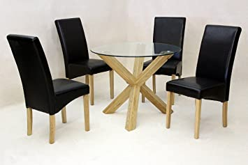 Saturn Small Solid Oak Dining Table Glass 950mm Round Dining Room
