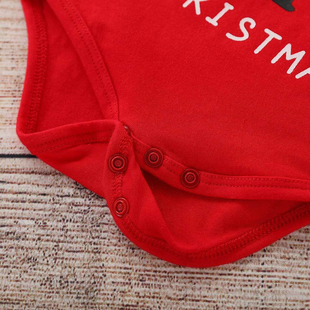 kaiCran Baby Cotton Bodysuit,My First Christmas Long Sleeve Santa Claus Print Romper for Baby Boys Girls