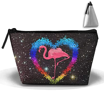 Cool Flamingo With Sunglasses Portable Trapezoid Cosmetic Makeup Bag Zipper Closure Pouch Storage Bag