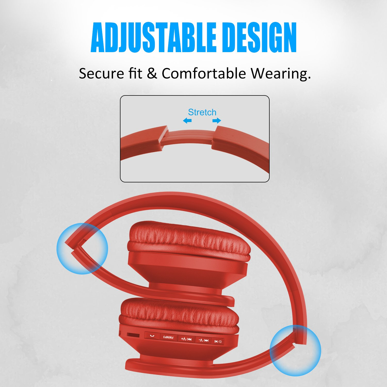 Lobkin Bluetooth Headphones Over Ear,Foldable Headphones with Soft Earmuffs,W/Built-in Mic and Wired Hedphones (Orange)