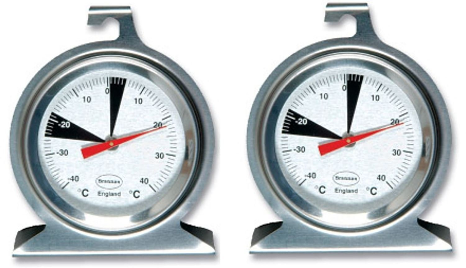 2 x Brannan Premium Dial Fridge Freezer Thermometer
