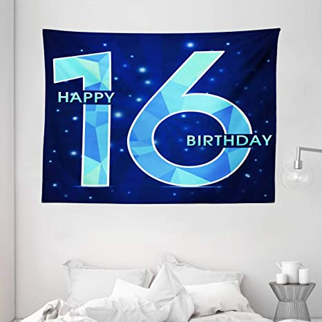 Amazon Com Ambesonne 16th Birthday Decorations Tapestry Greeting Joyful Cheerful Age Celebration Night Sky Display Wall Hanging For Bedroom Living Room Dorm 80 X 60 Dark And Sky Blue Home Kitchen
