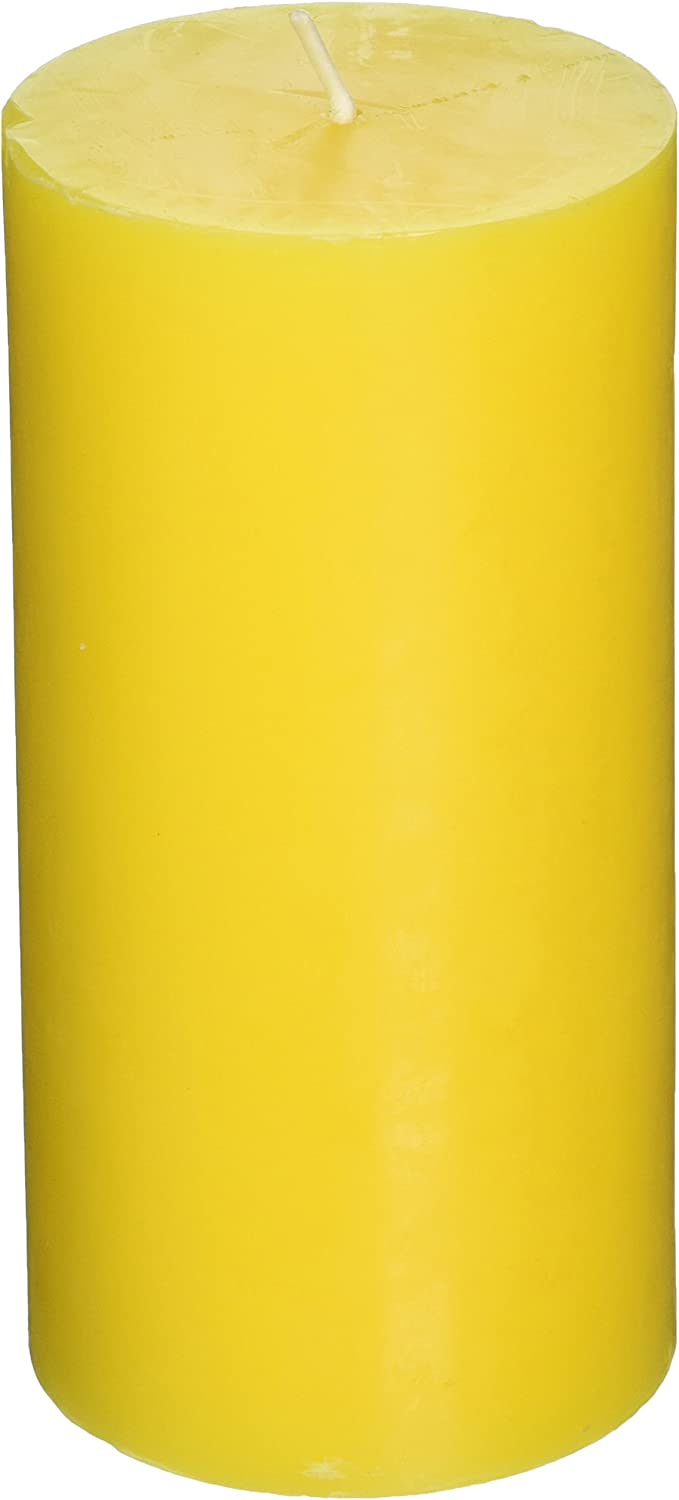 Zest Candle Pillar Candles, 3 by 6-Inch, Yellow Citronella