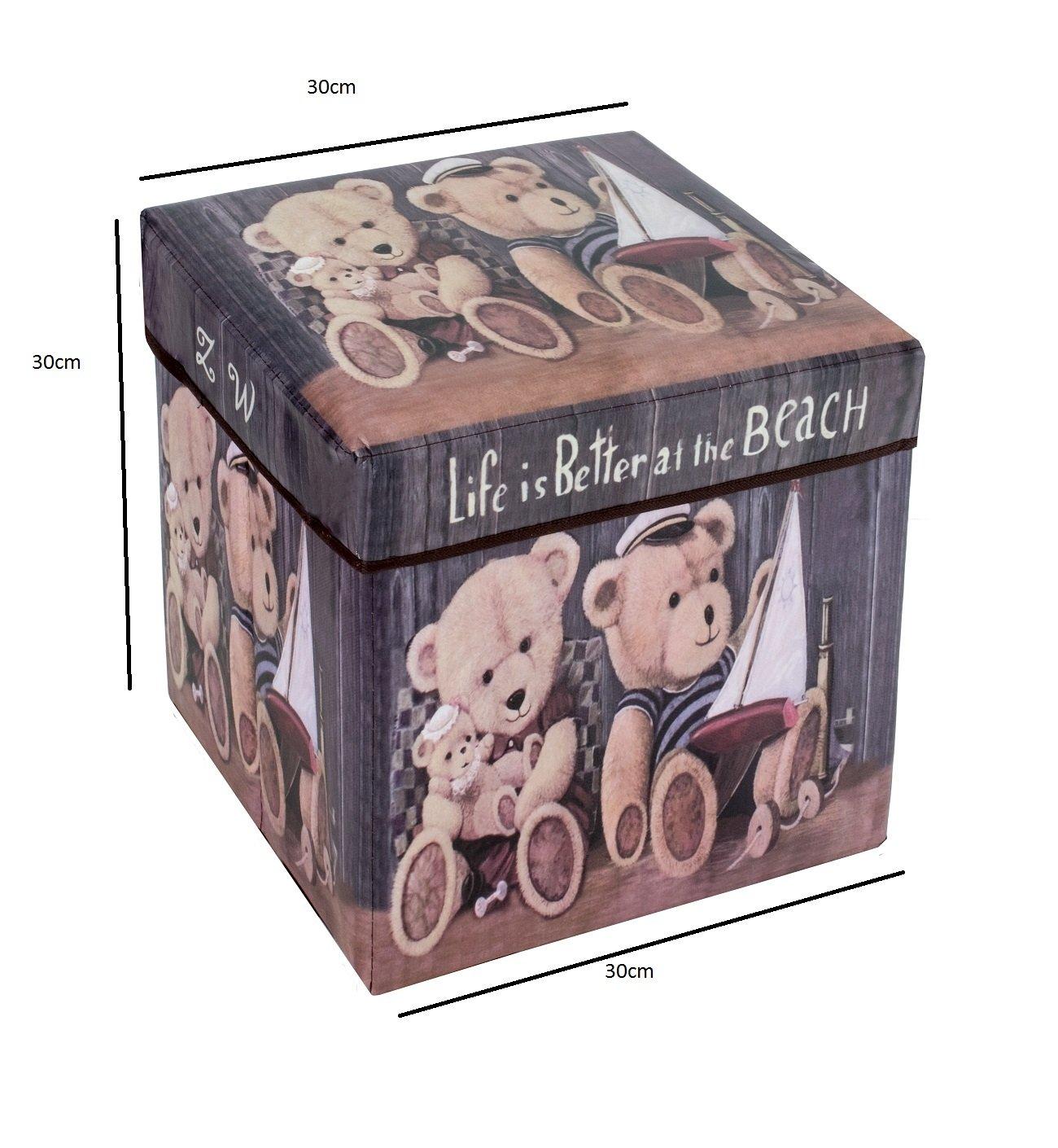 Amazinggirl Taburete con Espacio de Almacenamiento Plegable y con Motivos Modernos Taburete Plegable como Caja de Almacenamiento Cubo y Tapa (Bears, ...
