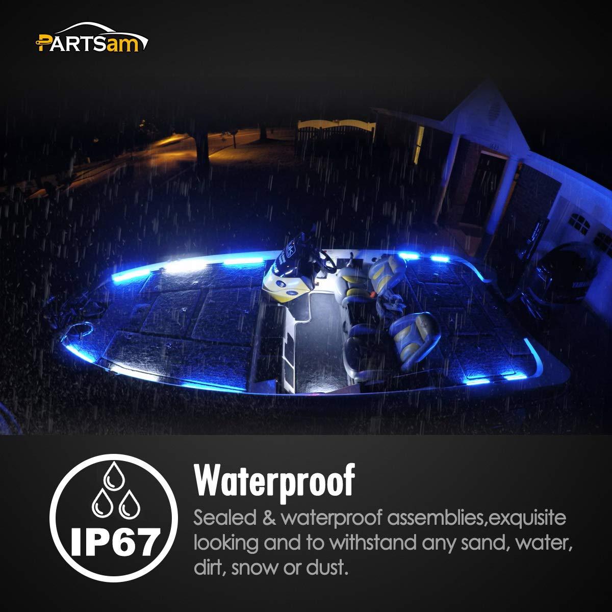 Partsam 10 Sealed Underwater Led Light Strips Bar for Boats RVs Caravans Horsebox Utility Vehicles 6 Waterproof LED Light Bar 12LED Utility strip Bar Boat Lights Clear//Blue
