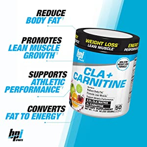 BPI Sports Cla + Carnitine Non-Stimulant Weight Loss Supplement Powder, Fruit Punch, 10.58 Ounce