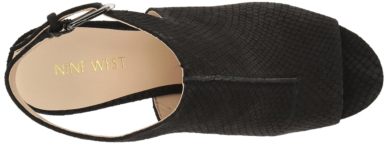 Nine West Women's Gorana Nubuck Wedge Sandal B01LW35JF1 8 B(M) US Black