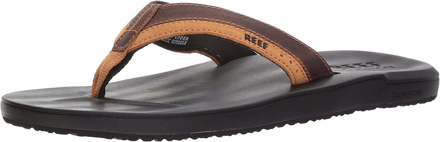 Tongs Homme Reef Leather Contoured Cushion