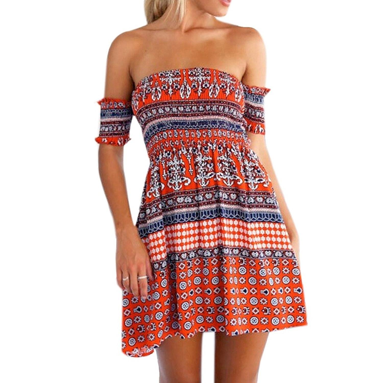 QIYUN.Z Frauen Des Sommers Beilaeufige Slash Hals Shorts Verlassen Gedruckte Vintage Sexy Tunika-Kleid