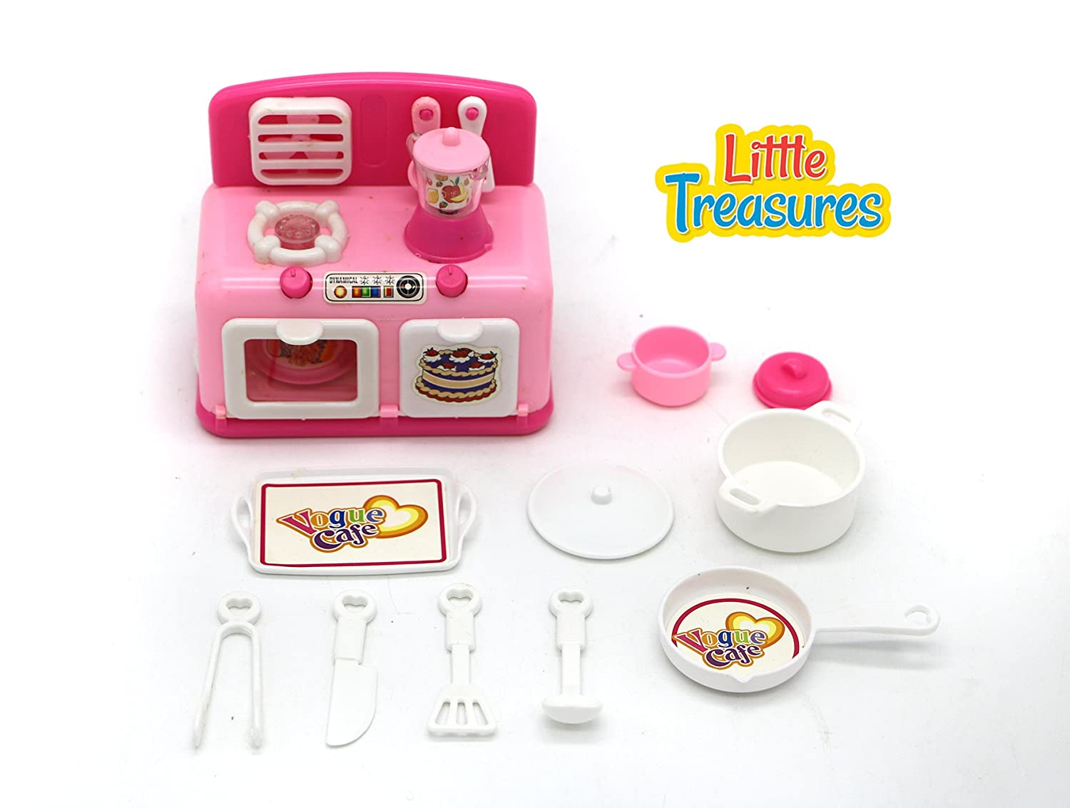 Little Treasures Appliances Stove with Lighting Effects, Assorted pots and Pans, Cooking Utensils and Crockery 11 pcs Play Kitchen Set Toy for Girls Ages 3+