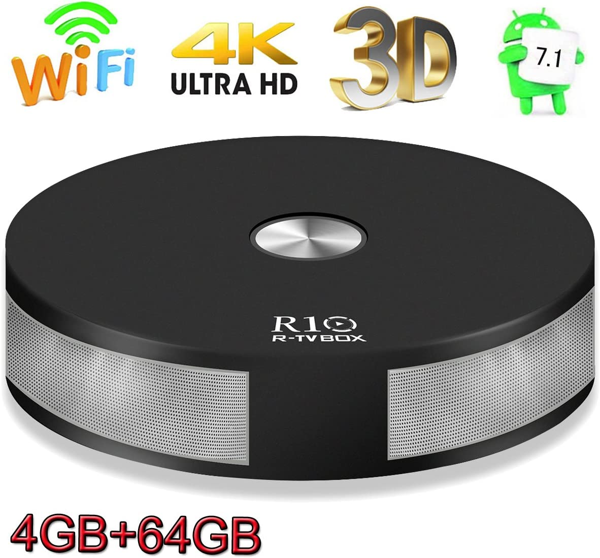 Android TV Box, Super-VIP R10 Smart 4K TV Box Android 7.1 RK3328 Quad Core Lan 1000M 4GB DDR3 64GB Bluetooth 4.1 Dual 2.4G/5G Dual Wifi Set Top Boxes 3D 4K Ultra HD