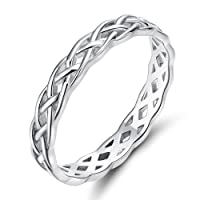 925 Sterling Silver Celtic Knot Eternity Band Ring Engagement Wedding Band 4mm