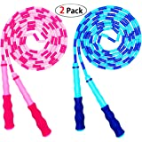 Soft Beaded Jump Rope, Adjustable Tangle - Free Segmented Fitness Skipping Rope for Men, Women and Kids Keeping Fit, Training, Workout and Weight Loss - 9 Feet