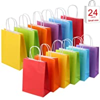 24 Pieces Kraft Paper Party Favor Bags with Handle Assorted Colors (Rainbow)