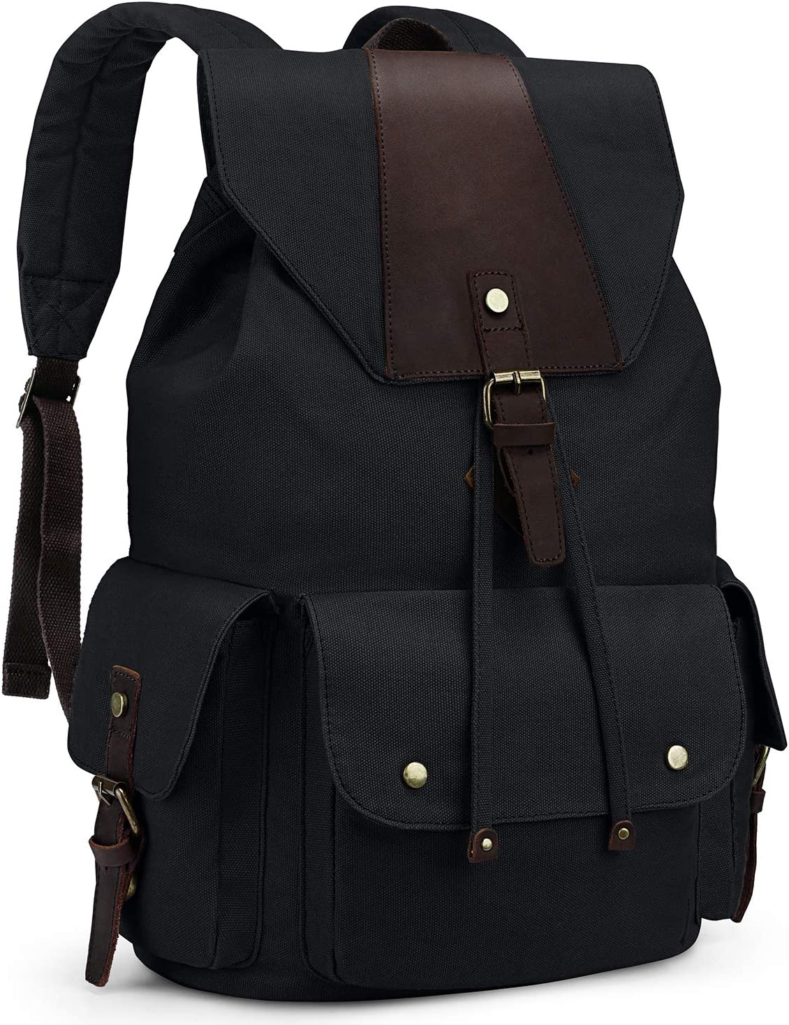 Kattee Canvas Backpack for Men Women Casual Leather Travel Backpack Hiking Backpack School Rucksack Black