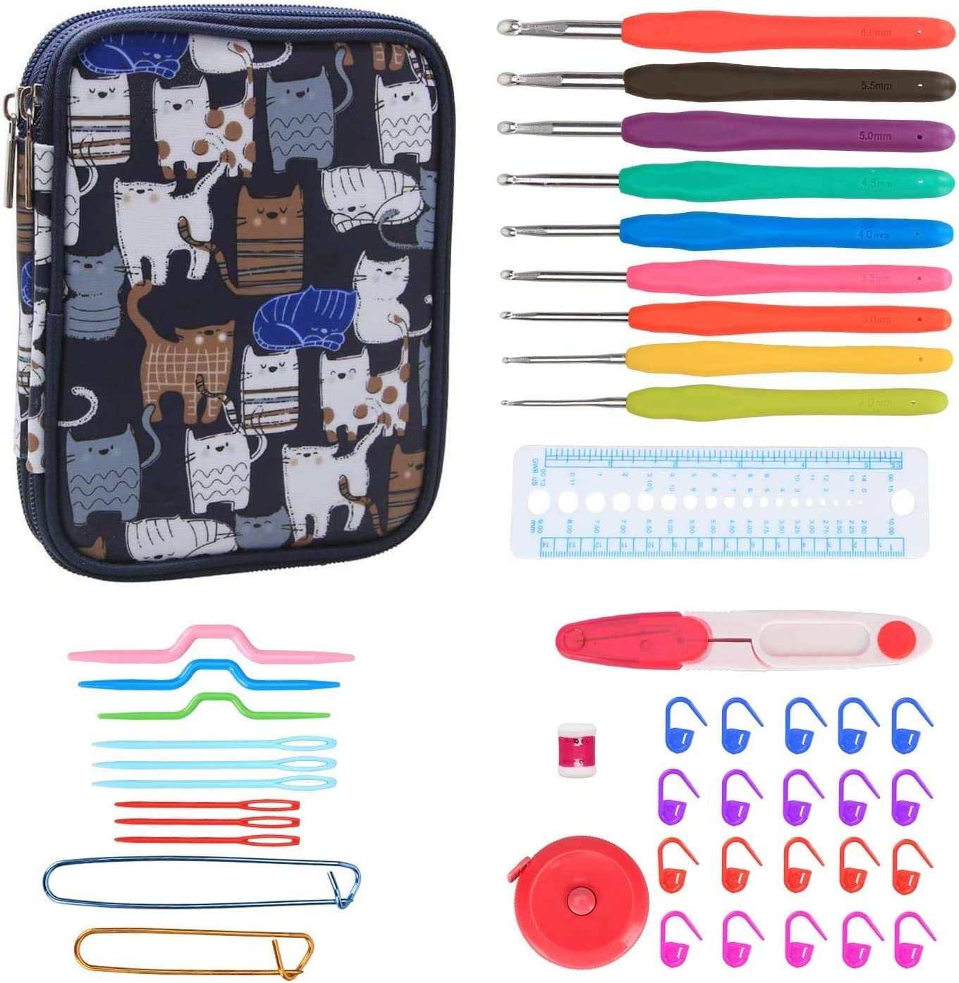 Teamoy Serie de Crochet Kits de Ganchillo Estuche para Crochet Organizador de Agujas Bolsa de Herramientas Juego del Ganchos (incluido accesorios),gato azul