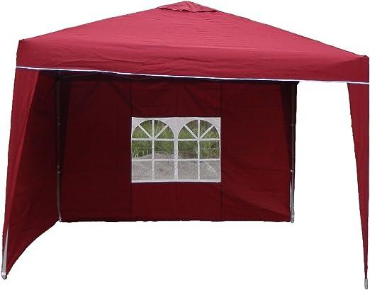 Carpa de aluminio 3 x 3 x 2, 6 m, cenador plegable, impermeable, poliéster, 2 partes laterales, pérgola, rojo: Amazon.es: Jardín