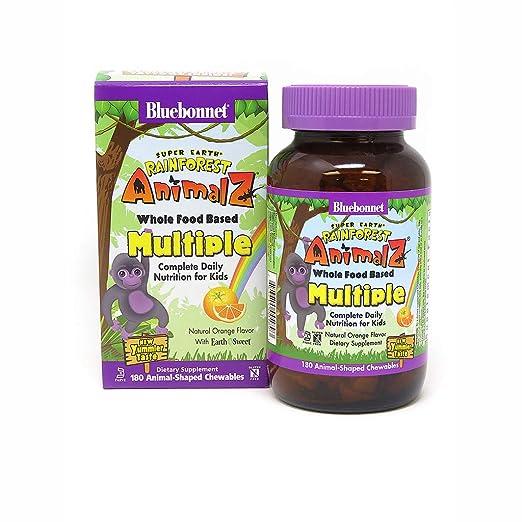 Amazon.com: Bluebonnet Super Earth Rainforest Animalz Multiple Chewable, Cherry, 180 Count: Health & Personal Care