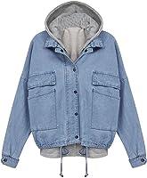 East Castle Women&39s Zip Up Blue Denim Coat Jacket with Hoodie Vest