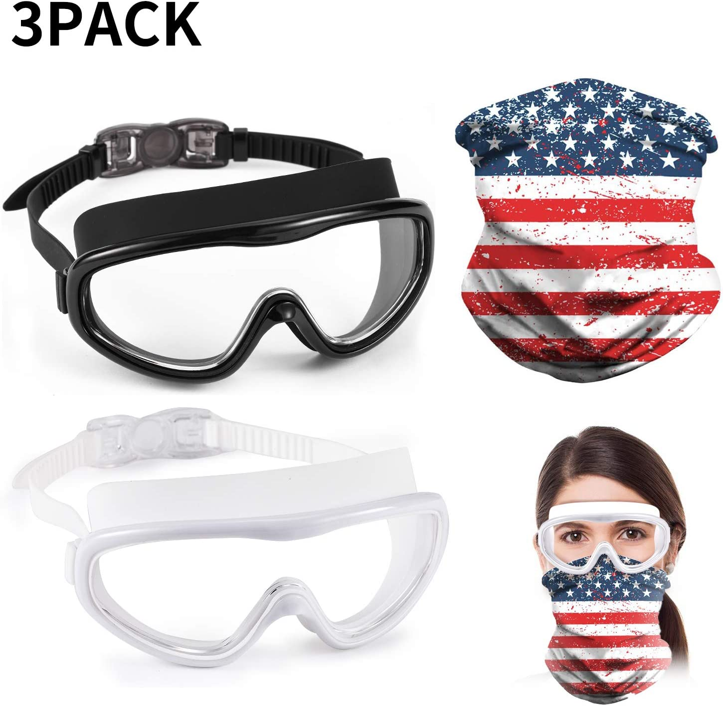 Fpxnb 3 Pack Swim Goggles with Face Mask, 2 Pairs of Clear Swimming Eyewear Glasses Anti Fog Waterproof Lens Adjustable Head Strap, for Men Women, Mask for Block Protecting Nose Mouth, Black White