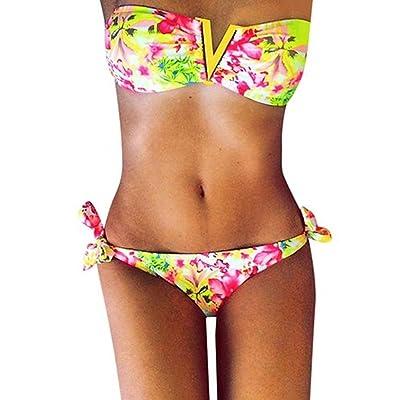 Maillot De Bain 2 pieces Bikini Set Trikini Floral Bandeau Push Up Sans Bretelles Pour Femme Koobea