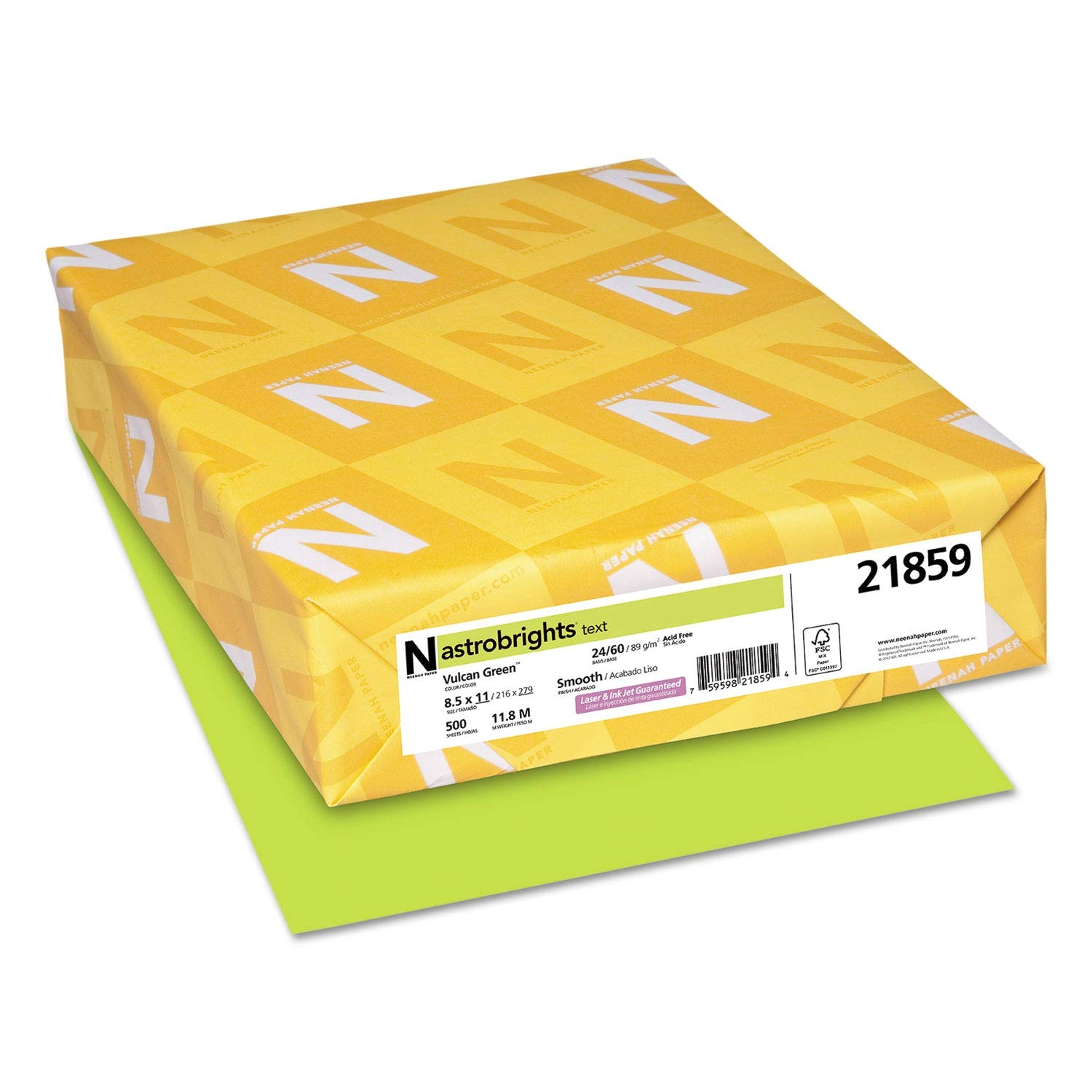 Astrobrights Color Paper, 24lb, 8 1/2 x 11, Vulcan Green, 500 Sheets - 21859 (Pack of 2)