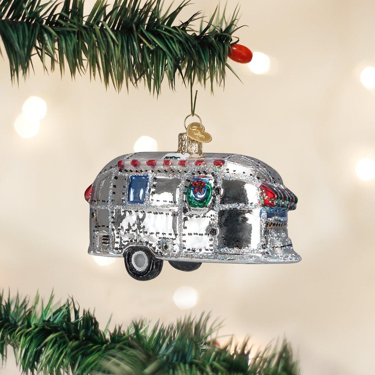 Amazon.com: Old World Christmas Vintage Trailer Glass Blown Ornament ...