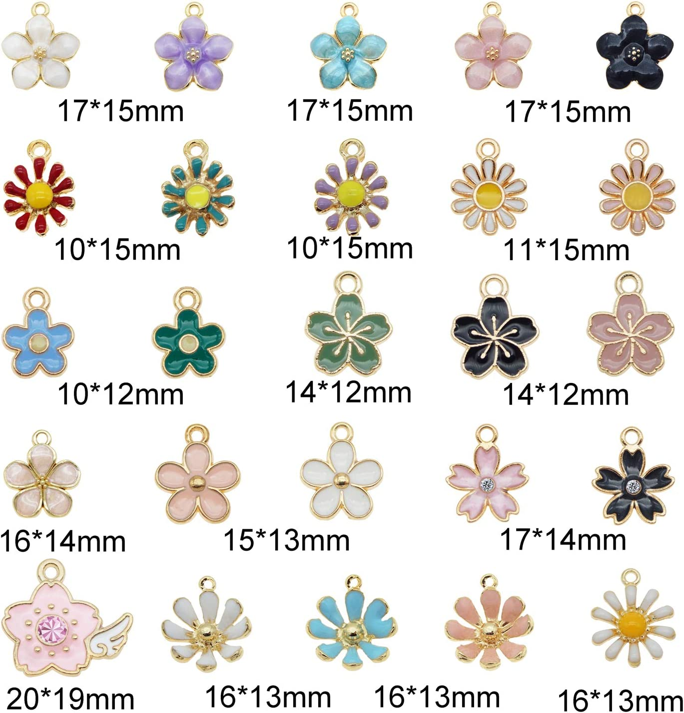 JJG 40PCS Colorful Assorted Mixed Flowers Floral Enamel Plated Charms Pendant for Necklace Bracelet Earring Jewelry DIY Making Findings