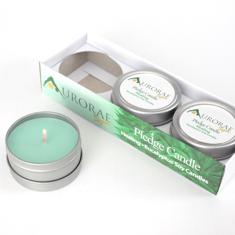 3-Pack Gift Set of Eucalyptus Scented Soy Meditation Candles | Aromatherapy | Gifts | Yoga Candles | Harmony Pledge (Eucalyptus | Healing) Aurorae