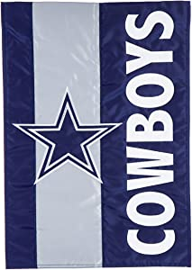 Team Sports America NFL Dallas Cowboys Embroidered Logo Applique Garden Flag, 12.5 x 18 inches Indoor Outdoor Double Sided Decor for Football Fans