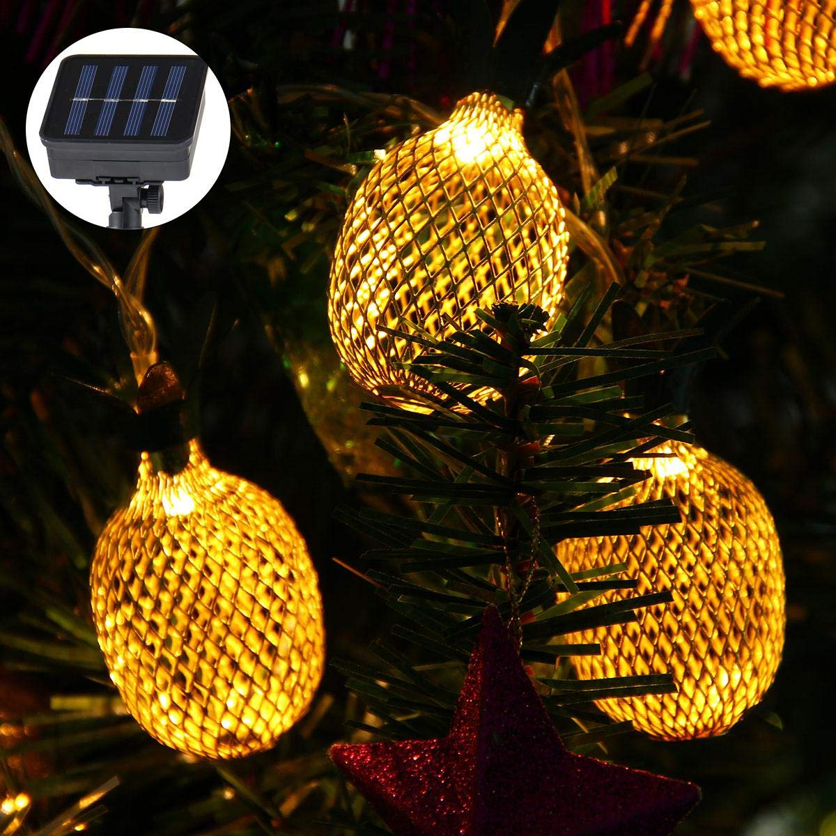 Pineapple String Lights, 200in/5m 40 LED Bulbs WaterproofSolar ChargingLantern String Lights with 2 Light Mode Fairy Lights for Wedding Garden Festival Party Halloween Christmas Indoor & Outdoor by Umiwe (Image #7)