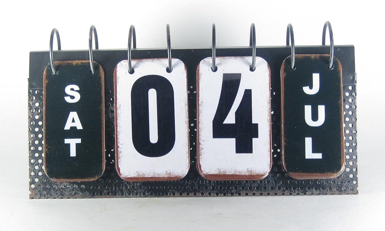 Metal Spiral Flip Perpetual Calendar Eclectic Antique Style Desktop Tabletop 10.75 x 5.5 K/&K Interiors 13148A