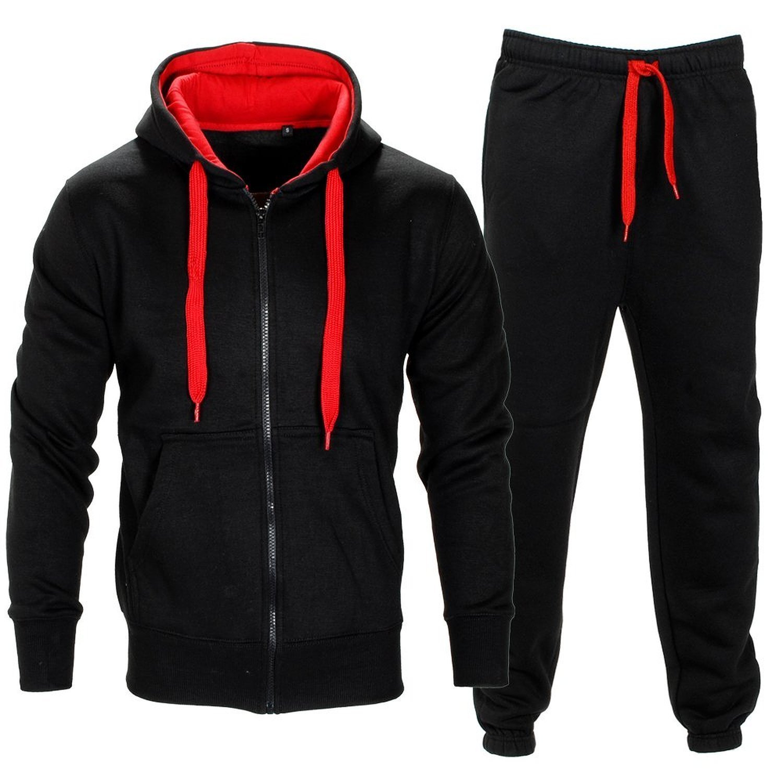 Men Tracksuit Set Contrast Cord Fleece Hoodie Bottom Jogger Gym Sport Suit Pants,Black/Red,XXX-Large