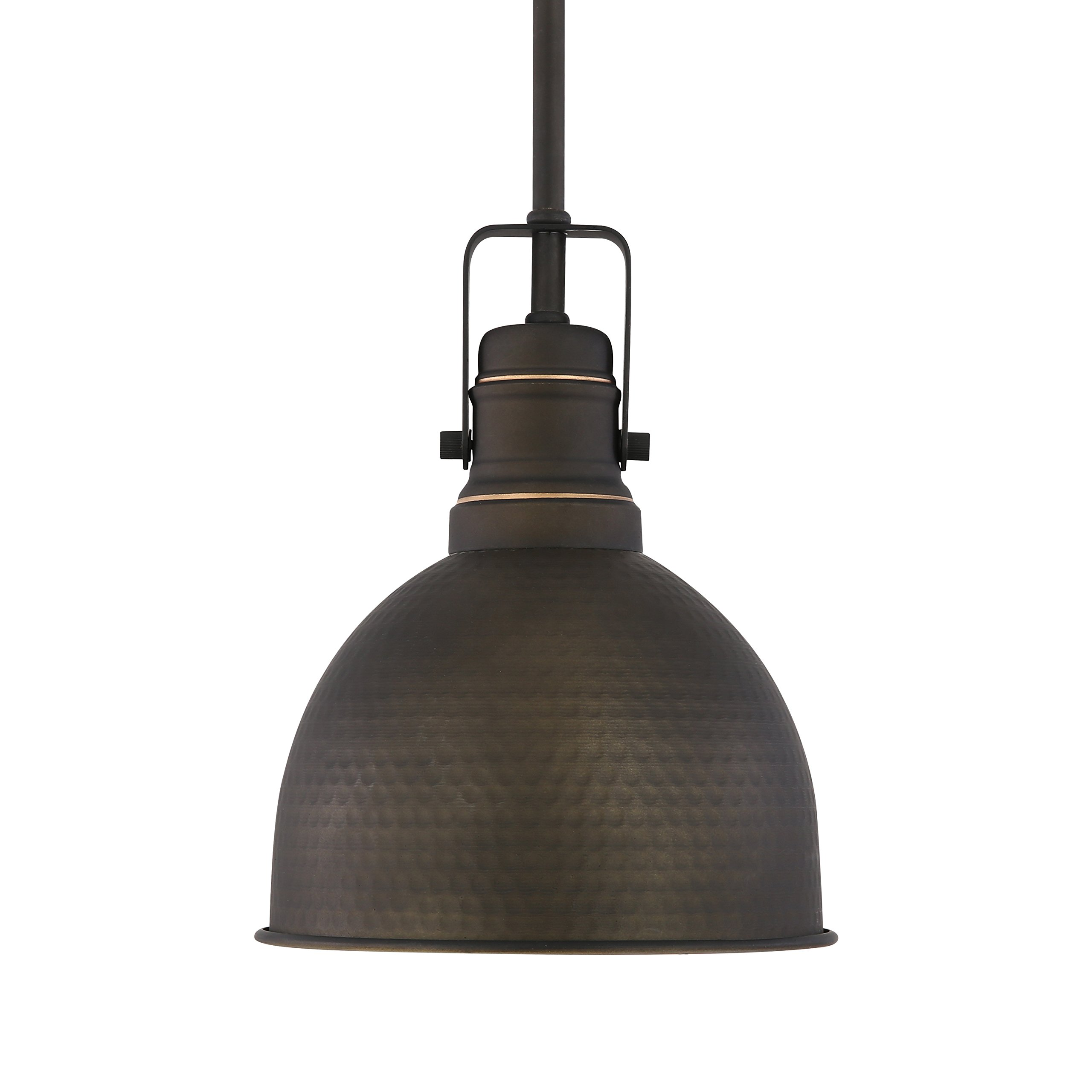Light Society Hampshire Farmhouse Pendant Lamp, Hammered Oil Rubbed Bronze with Gold Interior, Vintage Industrial Modern Lighting Fixture (LS-C248-ORB)