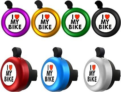 I LOVE MY BIKE YELLOW BICYCLE BELL RINGER KIDS BIKE