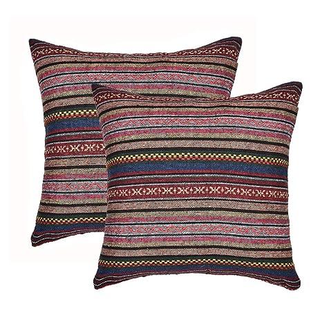 Amazon.com: Xiaowli - Funda de cojín tribal, diseño de rayas ...