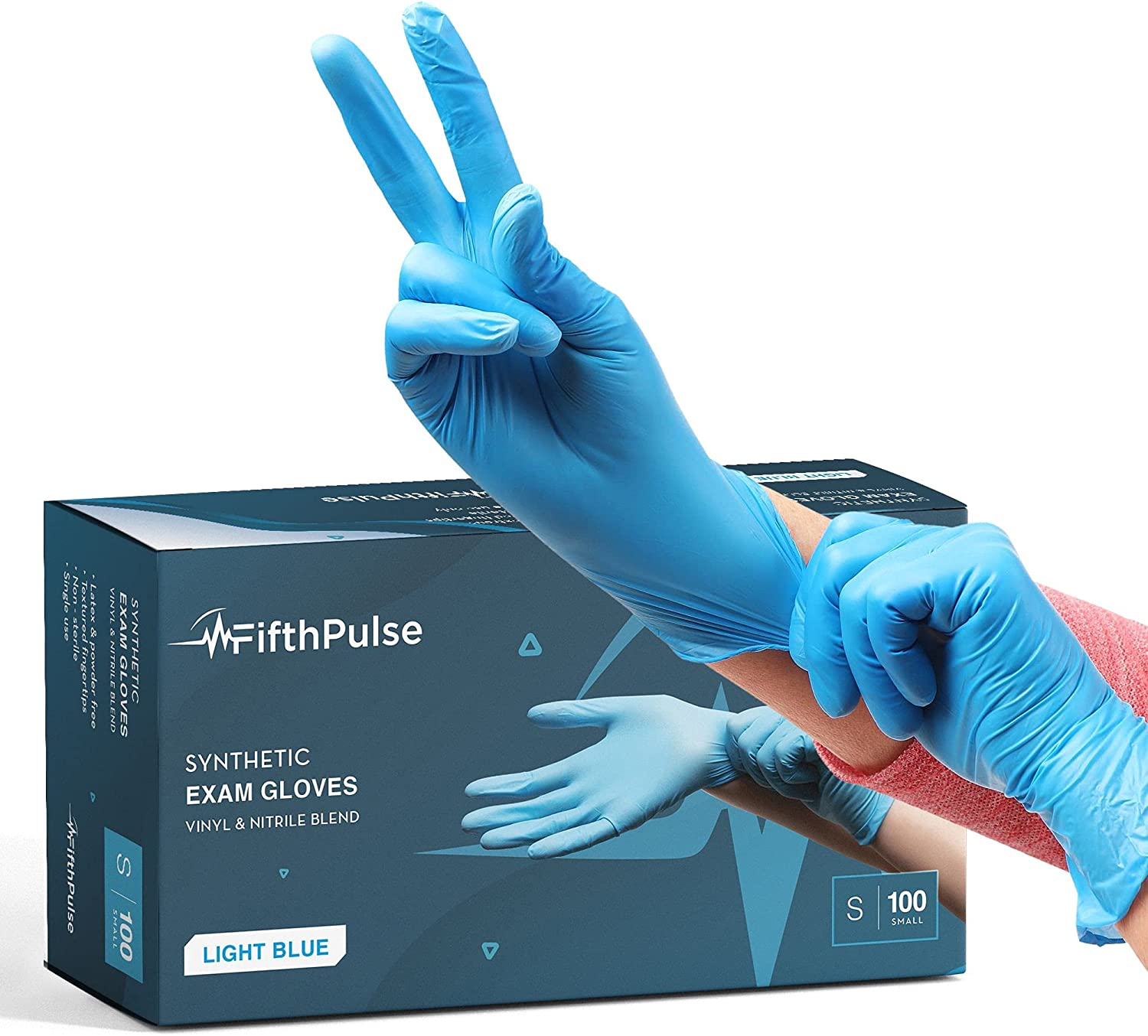 FifthPulse Blue Disposable Gloves Small 100 Count - Synthetic Nitrile Medical Exam Gloves - Latex Free, Powder Free - Surgical, Home, Cleaning, and Food Gloves - 3 Mil Thickness
